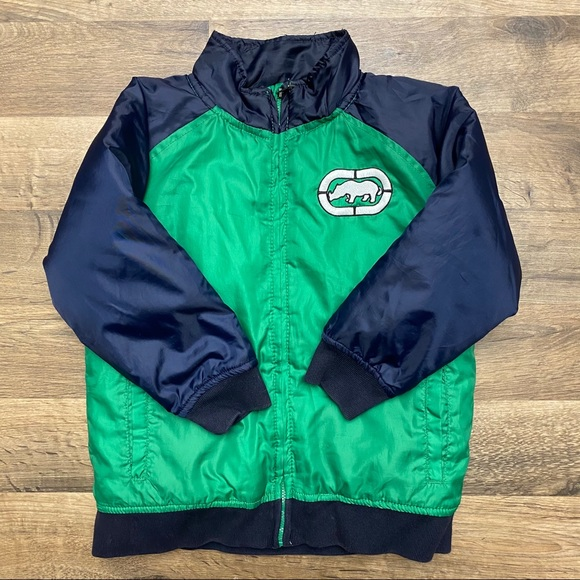Ecko Unlimited Green & Navy Puffer Jacket Size 4T